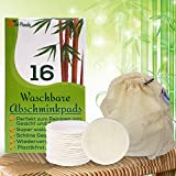 Abschminkpads Waschbar   16 Wiederverwendbare Wattepads aus Bambus & Baumwolle & Seidenseiten mit Wäschesack   Weiche Gesichtstücher & Perfekt zum Reinigung von Gesicht & Augen