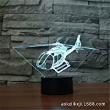 Powzz ornament 3D LED Nachtlicht Hubschrauber Bunte 3D Lampe Touch Vision Lampe Gradient Tischlampe, Charging Touch, 1-99 Sätze