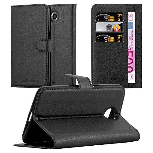 Cadorabo Hülle für Lenovo Google Nexus 6/ 6X Hülle in Phantom schwarz Handyhülle mit Kartenfach & Standfunktion Case Cover Schutzhülle Etui Tasche Book Klapp Style Phantom-Schwarz