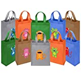 Ava & Kings 10 Pack Reusable Party Favor Kids Goodie Bags - Creature Feature