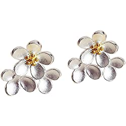 Kanggest Daisy Flowers Stud Earrings for Ladies Girls,Ideal Valentine's Gifts -Silvery