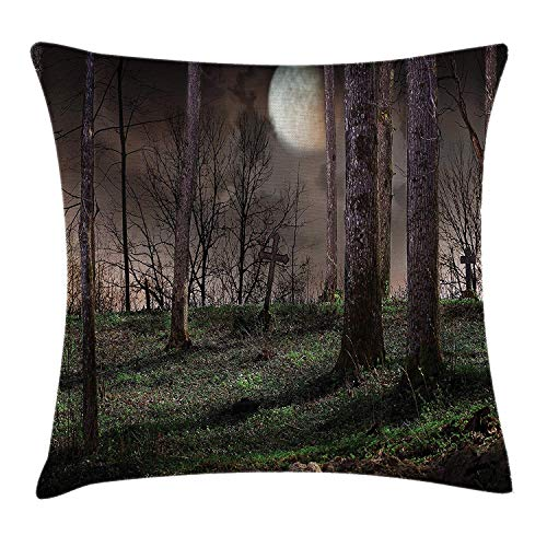 Pillow Cushion Cover, Dark Night in The Forest with Full Moon Horror Theme Grunge Style Halloween, Decorative Square Accent Pillow Case, 18 X 18 inches, Brown Green Yellow ()