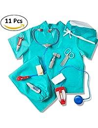 Darcylibisy Kit De Doctores para Niños, Disfraz De Médico Azul para Niños Juego De Disfraces Disfraces Y Accesorios para Cirujanos De Niños,Role Play Costumes Kids