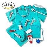 Roful Disfraz de médico Disfraz, Disfraz de médico Azul Infantil Disfraz de médico Cirujano con médico Kit médico para niños, niñas y niños DE 3-8 años de Edad