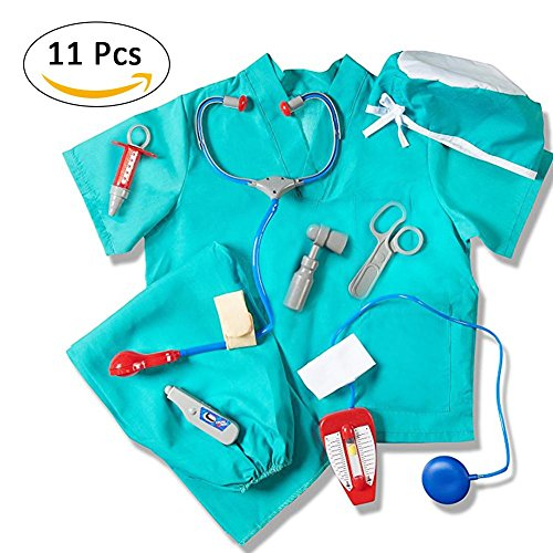 Chirurg Kostüm Kinder, Child's Blue Doctor Dress up Chirurg Kostüm Set Halloween mit Arzt Medical Kit für Kinder, Jungen, Mädchen Alter 3-8 Jahre ()