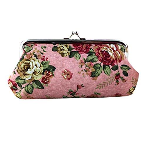 Amlaiworld Frauen Retro Flower kleine Brieftasche Hasp Handtasche Clutch Bag für 5,5 Zoll Telefon (rosa)