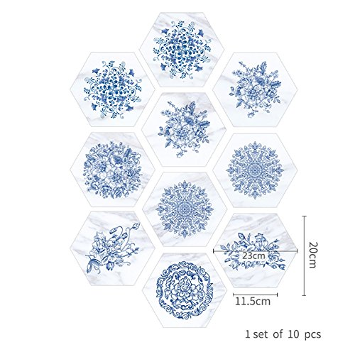 Porzellan-fliesen-böden (XIN BAO Blaue und weiße Porzellan Marmor Fliesen Boden Badezimmer Badezimmer wasserdichte Wandaufkleber, A)