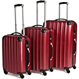 TecTake Suitcase Trolley Set of 3 | with 4 Wheels | Super Lightweight