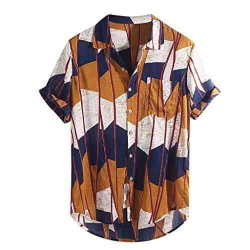 DOGZI Camisas para Hombre - Algodón y Lino Manga Corta Vintage Bolsillo en el Pecho Dobladillo Redondo Suelto Camiseta