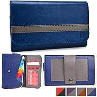 Funda tipo cartera Belt Clutch de Cooper Cases(TM) para smartphones de Prestigio MultiPhone 5503 Duo / 5508 Duo / 7500 para sujetar al cinturón en Azul / Gris (Tira para sujetar al cinturón; ranuras para tarjetas de crédito y carnets de identidad, bolsillo; diseño en dos colores)