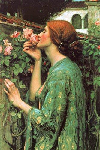 John William Waterhouse Das Soul der Rose 1908Romantik Kunstdruck 36x54 inches Poster 1908 Rosen