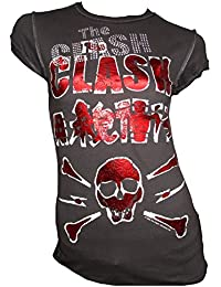 Amplified Damen Lady T-Shirt Grau Anthrazit Official THE CLASH Skull Strass Rock Star Vintage