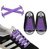 JANIRO Elastische Silikon Schnürsenkel – flexibler Schuhbänder Ersatz ohne Binden - Kinder & Erwachsene - 20 Stück - Violett