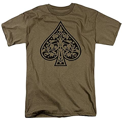 Tribal Spade - Adult Safari Green S/S T-Shirt For Men, XX-Large, Safari Green