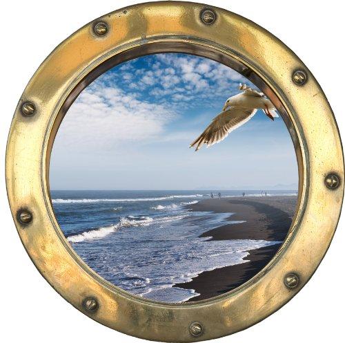 Price comparison product image H316 Self-Adhesive Sticker Optical Illusion Porthole Seagull 30 x 30 cm