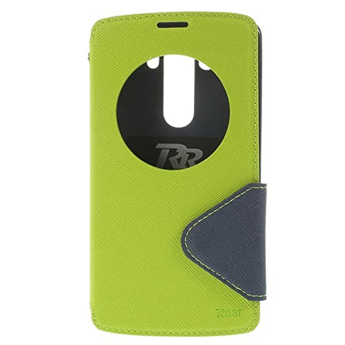 LG G3 View Case Hülle Tasche Flip Cover Klapphülle Schutzhülle Flip Case Handyhülle | Premium Design Wallet mit View Fenster | 100% Passgenau | Robuste Silikon-Innenschale | Magnetverschluss | Easy Touch | Aufstellfunktion | Apfel Grün