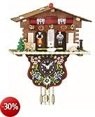 Orologio dalla Foresta Nera in miniatura casa svizzera casetta stazione meteo, incl. batteria