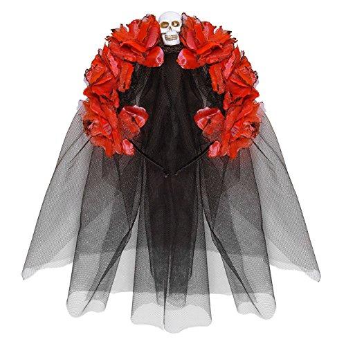 Widmann 04133 Haarreif mit Rosen, Totenkopf und Schleier, One Size (Halloween Kostüme Für Rote Köpfe)