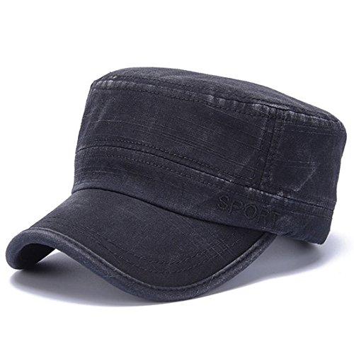 Thenice Berretto Cappello Militare Cappellino Cotone Army Flat Cap (Sport Nero)