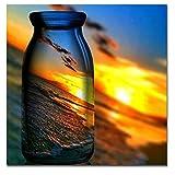 Merssavo Sonnenuntergang Wasserflasche Landschaft Kunst Wandmalerei Leinwanddruck Bild Home Decor (30 * 30 cm)
