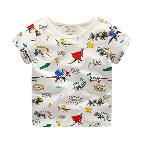 KaloryWee Unisex Kid Boys Tops Pullover Sweaters Blouse Cartoon Dinosaurs Printed Short Sleeve t Shirts Jumpers Sweatshirt Clothes 1 2 3 4 5 6 Years