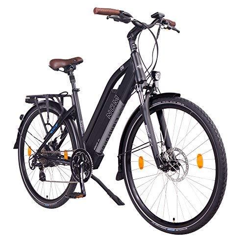 "NCM Milano 48V, 28\"" Urban Trekking E-Bike Elektrofahrrad Pedelec, 250W 13Ah 624Wh, weiß, schwarz (Schwarz, 28\"")"