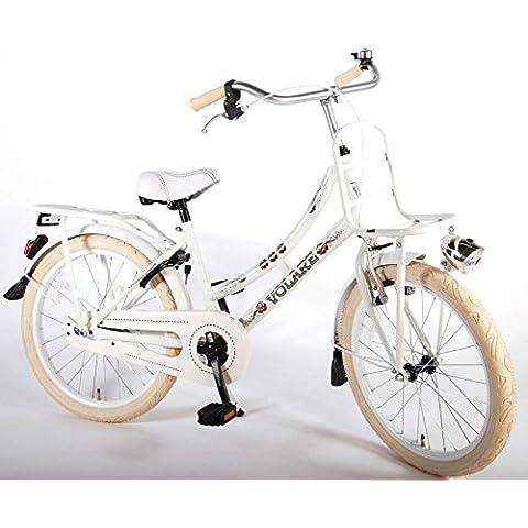 bicicleta niña 6 7 8 años de 20 pulgadas frente y portaequipajes trasero, pata de cabra blanco