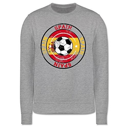 EM 2016 - Frankreich - Spain Kreis & Fußball Vintage - Herren Premium Pullover Grau Meliert
