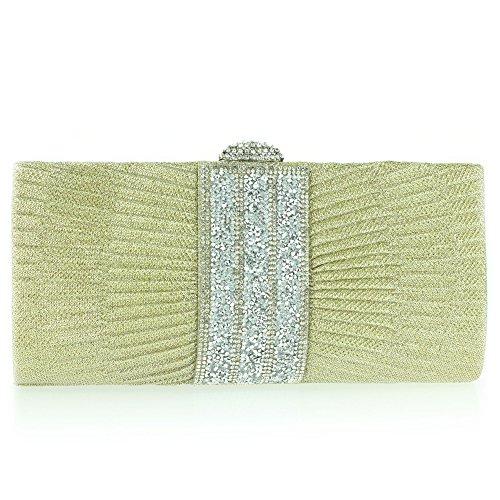 Femmes Dames Shimmery Diamant plissé Réduire Fermoir Fermeture Soirée Mariage De mariée Bal de promo Cristal Pochette Or