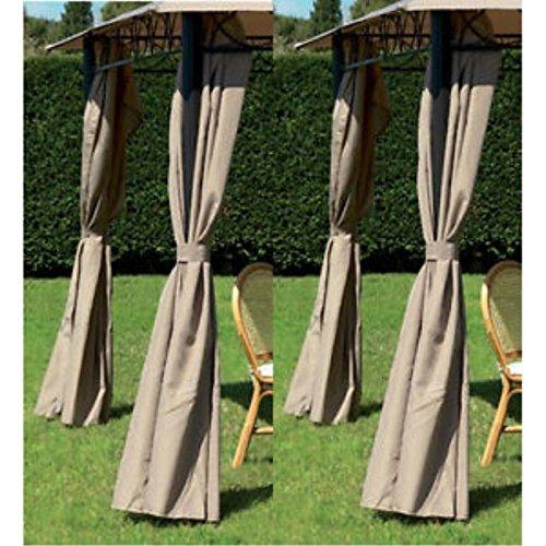 Ricambio set 4 teli laterali per gazebo eden 3x3 colore beige scuro