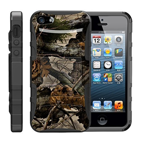 turtlearmor   Kompatibel für Apple iPhone SE Fall   iPhone 5/5S Fall [Hyper Schock] Hybrid Dual Layer Rüstung Holster Gürtel Clip Case Ständer -, Tree Leaves Camouflage (5 Fällen, Iphone Gürtel-clip)