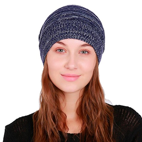 bescita Frauen Warm Crochet Winter Wolle Strick Ski Beanie Schädel Caps Hut Cute Hairy Birne (Blau) - Blaue Ski-knit Beanie Cap