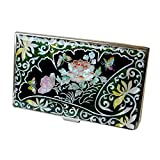 Mother of Pearl Business Credit Name Id Card Case Holder Metal Stainless Steel Engraved Slim Purse Pocket Cash Money Wallet with Ginkgo Leaf Design