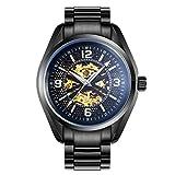 RAN-R-Reloj de Pulsera mecánico Caja de dial Redonda Relojes de Pulsera Impermeables de Pulsera automáticos de Acero Inoxidable de la Moda Digital, Black