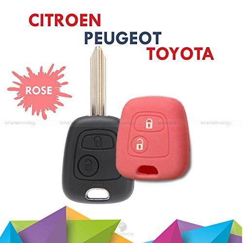 Schutzhülle aus buntem Silikon, weiches Material für Scocca Autoschlüssel mit 2 Tasten für Citroen C1 C2 C3 C5 Picasso Xsara Saxo Berlingo in 10 verschiedenen Farben rosa -