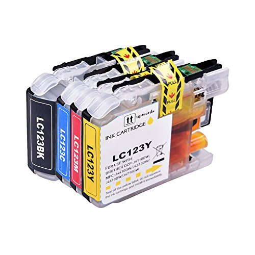 DOREE Remanufactured 4 XL Compatible printer cartridges for Brother LC-121 LC-123 LC123 LC-127 LC-125 XL