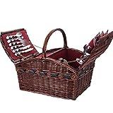 GYFSLG Picknickkorb Für Picknickkorb Im Freien, Weidenpicknickkorb, Besteck, Isolationsbeutel, Flaschenöffner, Teller, Rotweinglas