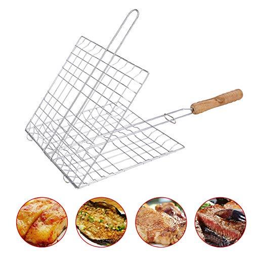 XUN Cestello per grigliate per Barbecue Pieghevole in Acciaio Inox, Accessori per Barbecue con Manico Lungo per Cucina da Campeggio, 1 Confezione