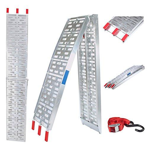 Alu Auffahrrampe verschiedene Farben 340/680 kg klappbar Alu Auffahrrampe Rampe Verladerampen (1x silber) - Leichte Rampen