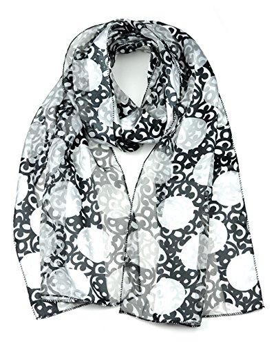 Foulard versatile en mousseline à divers motifs. Produit offert par NYfashion101 4393 BK/GY