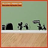 Mäuseaufkleber, Wand-Aufkleber Maus, Wandtattoo für Fussleiste / Wand / Treppe etc. ca. 20 cm breite Pizza Lieferant Motiv7