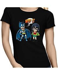 T-Shirt Comics - Parodie Batman et Robin du manga One Piece - What the... !? (Dark Version) - T-shirt Femme Noir - Haute Qualité (886)