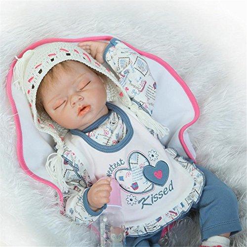 NPK Lebensecht Schlafen Reborn Baby Doll Wiedergeborene Babypuppe Silikon Junge Blau Outfit Kinder Spielzeug Geschenk Kit 22 Zoll 55 cm