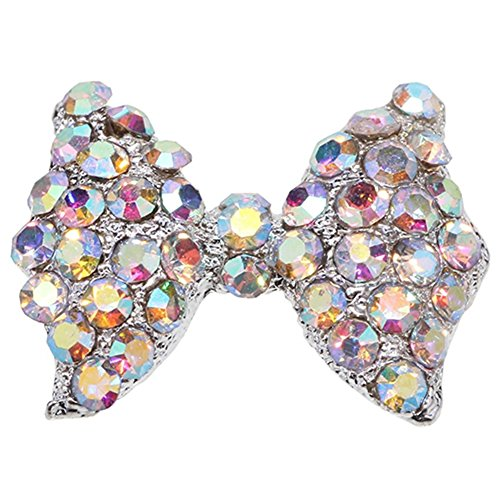 10x 3D Pink Alloy Rhinestone Bow Tie Butterfly Nail Art tip Glitter Decoration by Broadfashion -