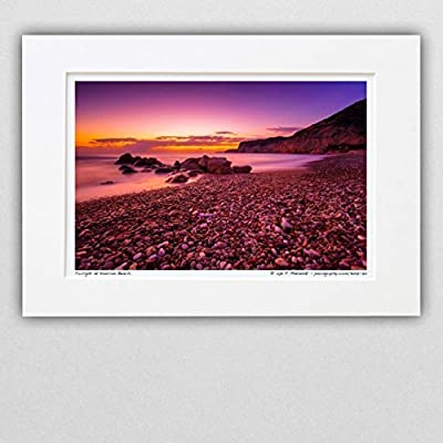 111217-72 Twilight at Kourion Beach. A4 Matted Fine Art Photograph. Best for Home and Office Wall Art Room Decor.