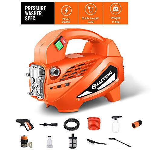 CNKSKXK-Pressure washer Hochdruckreiniger, 2000W 130Bar elektrische tragbare Light Power Waschmaschine mit Zubehör, Auto/Patio/Yard Waschmaschine,2000worange (Power-waschmaschinen-zubehör)