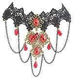 Beyond Dreams Halskette Spitze   Gothic acryl schmuck   Halskette rot+ Schwarze Spitzen Kette für Hochzeit   Statement Collier Halsketten Schmuck für Damen und Frauen ALS Kette (roter Kristal)