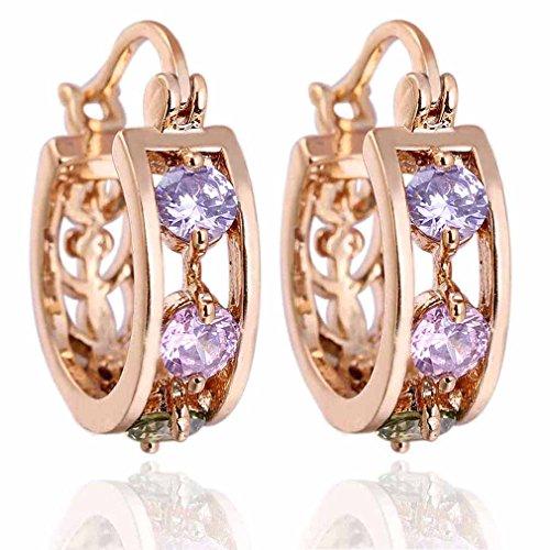 Yazilind Schmuck Elegante Design- Hohl 18K Gold Filled Inlay Riund glänzend bunte Kristall baumeln Ohrringe für Frauen