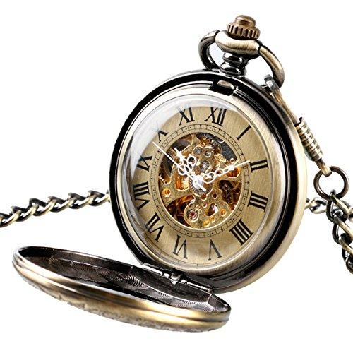 Retro Taschenuhr für Männer Frauen Spezielle Lupe Halber Jäger Elegantes Gehäuse graviert Steampunk Skelettiertes mechanisches Uhrwerk Mit Kette + Geschenk-Box
