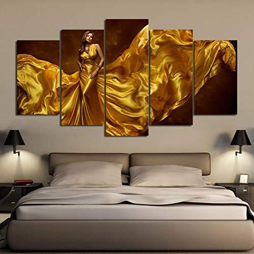 LCCWLH ImpressionssurToile HD 5 Pièces Sexy Robe Or Femme Mur De Toile pour Enfants Chambre Décoration Chambre 200 * 100 Cm avec Cadres